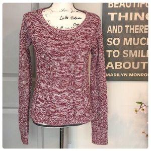 💕Beautiful Maroon & Cream Colored Knit Sweater💕